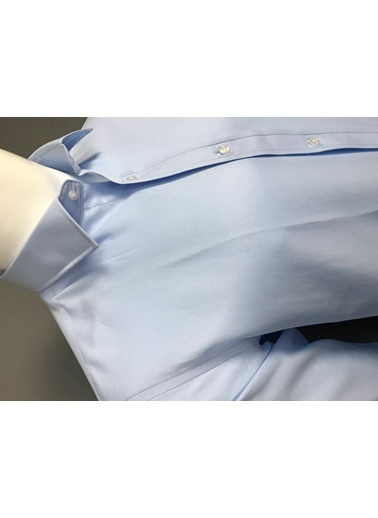 Abbate Kolay Ütülenır Klasık Yaka Slım Fıt Düz Gabardın Gömlek Mavi